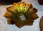 Turkish Art Glass Gold & Green Sunflower Bowl