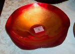 Turkish Art Glass Red & Gold Wave Bowl large