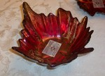 Turkish Art Glass Red & Gold Oak Leaf Bowl medium