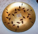 Turkish Art Glass Gold Olive Leaf Round Platter