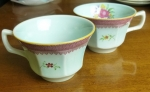 Adams Lowestoft 2 cups English Calyx Ware