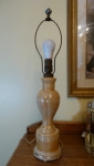Aladdin glass peach luster electric lamp, early 19th century