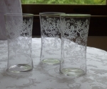 Blown glass tumblers 3, late Victorian needle etched lace