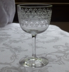 "Fostoria antique ""Large Cloverleaf"" claret stem wine glass"