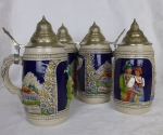 Handgemalt Beer Steins German set of 4, pewter lids