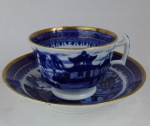 Staffordshire English porcelain Blue Willow cup & saucer 182