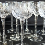 German Cut Lead Crystal tall wine goblets set 10 glasses