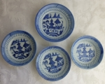 Chinese export blue & white 4 Canton small bowls