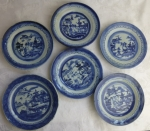 Chinese export blue & white 6 Canton bread plates