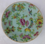 Cantonese Rose Butterfly Bird plate Chinese 19th century