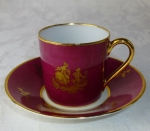 Limoges romance theme rouge & gold demi cup & saucer