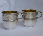 Christofle Silverplate (2) coffee cups, mid 19th century
