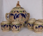 "Gerz cider serving set 8 mugs ""Castle on the Rhine"" Germany"