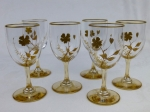 Gold stem crystal cordials set of 6 gold floral glasses