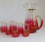 Cranberry West Virginia Glass Breakfast Pitcher Tumblers