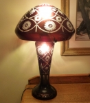 Electric lamp red Cut to Clear Glass mushroom top 22""