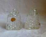 Crystal Salt Pot, glass spoon & Pepper shaker, Czech