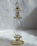 Egyptian Art Glass Perfume Bottle, clear swirl tall