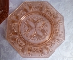 Elegant glass dessert plates set 8, pink pineapple pattern