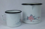 Enamelware measuring pitcher & cup with flowers