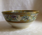 English Ironstone Polychrome serving bowl copper luster 19th