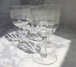 Blown glass 5 wine stems etched zig-zag pattern antique