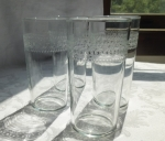 Blown glass tumblers set of 4 needle etched antique