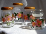Franciscan Desert Rose glass canisters