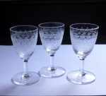"Fostoria Glass ""Large Cloverleaf"" etched cordial stems"