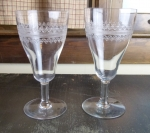 "Fostoria Glass ""Large Cloverleaf"" etched water goblets antiq"