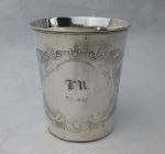 German 750 solid silver child's cup 1867 aesthetic engraving