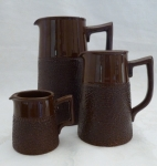 Country Breakfast Pitchers, set of 3, brown tree bark