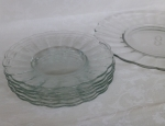 Blown Glass dessert plate set monogram S, service six