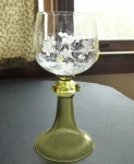 Glass rummer 24 oz, goblet beaded grape clusters 1890-1920