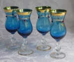 Grappa Glasses set 4 stems, blue with jewel & gold art glass