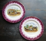 "Gray's Pottery (2) Pink Luster ""Dicken's Days"" plates"