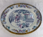 "Staffordshire ""Chinese"" 16 1/4"" turkey platter BW&C 1886"