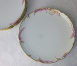 Haviland Limoges coupe dessert plates pink feathered edge