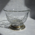Heisey Glass divided sauce bowl with sterling silver foot