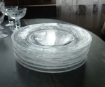 Heisey Glass Moonglo Dessert Plates, set of 8