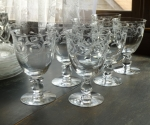 Heisey Glass Moonglo Water Goblets set of 7 stemware