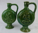 Hulstkamp Gouda 2 green pottery liquor decanters Holland