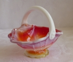 Imperial slag glass basket candy dish Chevron. swirl red yel