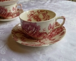 Johnson Bros English Chippendale Cup & Saucer, red