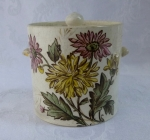 Antique English transferware jam jar with lid floral