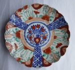 Japanese Imari plate, flowers in vase, Meiji period