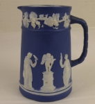 Jasperware dark blue Neoclassical pitcher 5 inch