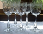 Kosta Boda tall water goblets cut bowl & foot set of 5 glass