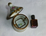 French Limoges Miniature Box Perfume Bottle, Peint Main