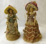 "Victorian lady figurines 9"" Louis Nichole elaborate dress"
